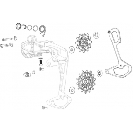 SRAM SPARE - REAR DERAILLEUR PULLEY AND INNER CAGE EX1 8 SPEED:
